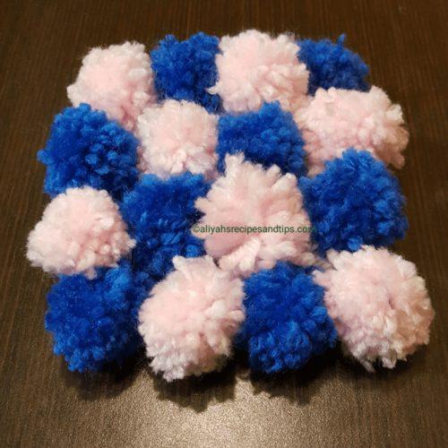 pom, pom pom rug, craft, diy, diy pom pom, living room, purple, baby, yarn, handmade, handmade pom pom rug, handmade pom pom kit, pom pom kit