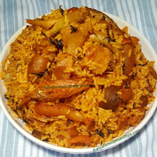 palm oil rice, cooked, Nigeria, Local, Native rice,Coocnut, English, Yam, freshly squeezed, drawing uncooked rice, Jollof, fried rice, stew, vegetable, red, fish,