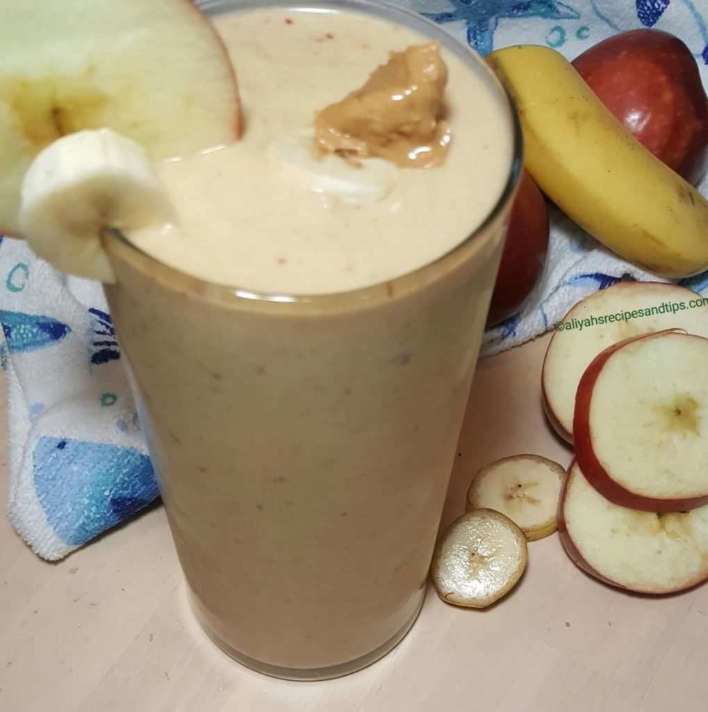apple peanut butter and banana smoothie, peanut butter smoothie, greek yogurt, juice smoothie, healthy smoothie, banana apple peanut butter smoothie, apple peanut butter smoothie, peanut butter smoothie, apple and banana smoothie, apple banana smoothie, peanut butter smoothie, workout snack, lactation smoothie, smoothie recipe, banana oatmeal smoothie, green smoothie, chocolate peanut butter