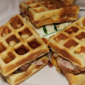 Cheddar Bacon Waffles, fried chicken, cornmeal waffles, egg, waffle maker, green chile, cheese, waffle sandwiches, scallion waffles, belfian waffles, waffles, cheddar, savory, waffle iron, batter, breakfast, Cheddar Bacon Waffles, chef capon's cheddar bacon waffles, bacon waffles, bacon and chaddar waffles, bacon-cheddar waffles