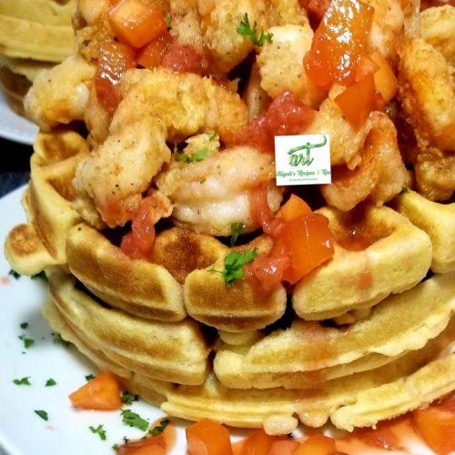 waffle and shrimp, shrimp cake, waffles shrimp, red hot waffle, corn cake waffles, cornbread, shrimp 'n' cheddar biscuit waffles, herbs waffles, shrimp recipe, fried shrimp with waffles, waffles and shrimp, shrimps and waffles, shrimp and waffle, thai shrimp with salad, savory waffles,belgian waffles, bangin' shrimo and waffles, coconut shrimp and waffles, waffles recipe, cornmeal waffle, cornbread waffles, sour cream waffles, chicken and waffles, brunch