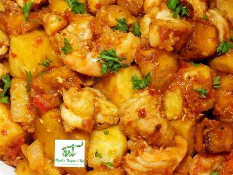 Pepper Yam Stir-fry, Peppered fried yam, Pepper Yam Stir-fry, Yamdodo Peppered Yam and Dodo, Fried Yam with Pepper Sauce (Dundun), Yam gizdodo, peppered yam, yam, African yam, Ghanaian yam,